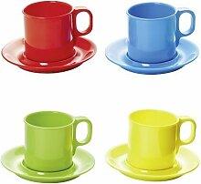 4 Kunststoff-Becher/Kaffeebecher/Trinkbecher mit Untertasse aus Melamin sort. in den Farben rot, grün, gelb und blau
