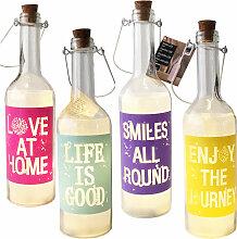 4 LED Glas Flaschen mit Schrift-M02420