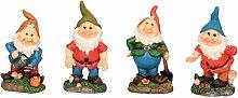 4 Lustige Gartenzwerge Gnome 18cm Gartenzwerg