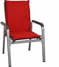 4 Mittellehner Stapelstuhl Auflagen Kuba 50234-310 in rot 107 cm lang (ohne Sessel)