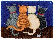 4 Modell Katze Knüpfteppich für Kinder und