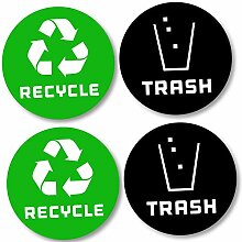 4 Pack (10,2 x 10,2 cm) Recycle Logo und Trash