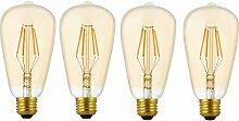 4 Pack Dimmbare LED E27 4W ST64 Filament