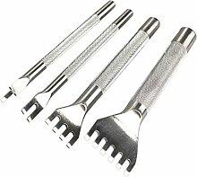 4 Pcs DIY Edelstahl Leder Handwerk Locher Werkzeuge Leder Bund Uhrarmband Gürtel Ösen Lochzange Kit Sets