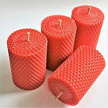 4 rote handgerollte Wabenkerzen aus 100%