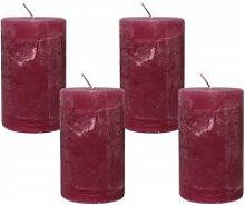 4 Rustic Stumpenkerzen Premium Kerze Fuchsia Pink