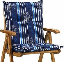 4 Sessel Auflagen 8 cm dick 103 cm lang in blau Ibiza 20578-100 (ohne Stuhl)