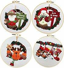 4 Sets Weihnachts-Stickerei-Starter-Set,