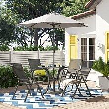 4-Sitzer Gartengarnitur Amherst mit Sonnenschirm
