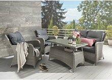 4-Sitzer Lounge-Set Falken aus Rattan mit Polster