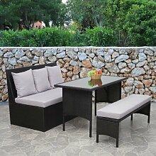 4-Sitzer Lounge-Set Gainford aus Polyrattan