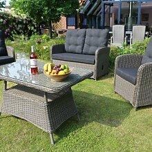 4-Sitzer Lounge-Set Merano aus Polyrattan mit