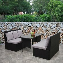 4-Sitzer Lounge-Set Taplow aus Polyrattan mit