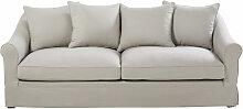 4-Sitzer-Sofa mit Baumwollbezug, hellgrau Joanne