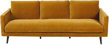 4-Sitzer-Sofa mit senfgelbem Samtbezug Kant