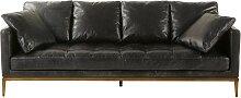 4-Sitzer-Sofa, schwarzer Lederbezug