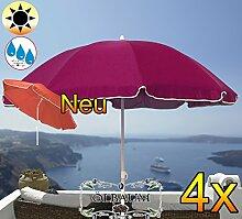 4 Stk. PREMIUM XXL Sonnenschirm, 180 cm / Q 1,80 m EDEL mit Volant, Sonnendach Schirm Strandschirm, violett lila hellviolett lila/dunkelviolett lila weiß, 8-teilig/8eckiger Strandschirm,Sonnendach /Sonnenschutz Dach, XXL-Klappschirm, Gartenschirm extrem wetterfest, klappbar, tragbar, seewasserfest, hochwertig robust stabil, Sonnenschutz, stabiler Schirm Klappschirm, Strandschirme, Sonnenschirme, Sonnenschirm-Tische