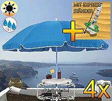 4 Stk. PREMIUM XXL Sonnenschirm mit Getränketisch, 180 cm / Q 1,80 m EDEL mit Volant, Sonnendach Schirm Strandschirm, blau hellblau/dunkelblau weiß, 8-teilig/8eckiger Strandschirm,Sonnendach /Sonnenschutz Dach, XXL-Klappschirm, Gartenschirm extrem wetterfest, klappbar, tragbar, seewasserfest, hochwertig robust stabil, Sonnenschutz, stabiler Schirm Klappschirm, Strandschirme, Sonnenschirme, Sonnenschirm-Tische