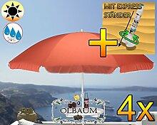 4 Stk. PREMIUM XXL Sonnenschirm mit Getränketisch, rot lachsrot orange, 180 cm / 1,80 m, 8-teilig / 8-eckig massiv robust, Strandschirm, Strandschirm,Sonnendach /Sonnenschutz Dach, XXL-Klappschirm, Gartenschirm extrem wetterfest, klappbar, tragbar, seewasserfest, hochwertig robust stabil, Sonnenschutz, stabiler Schirm Klappschirm, Sonnenschirme, Sonnenschirm-Tische, Regenschirm Picknickschirme, Gartenmöbel Holz