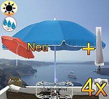 4 Stk. PREMIUM XXL Sonnenschirm mit Hülle, 180 cm / Q 1,80 m EDEL mit Volant, Sonnendach Schirm Strandschirm, blau hellblau/dunkelblau weiß, 8-teilig/8eckiger Strandschirm,Sonnendach /Sonnenschutz Dach, XXL-Klappschirm, Gartenschirm extrem wetterfest, klappbar, tragbar, seewasserfest, hochwertig robust stabil, Sonnenschutz, stabiler Schirm Klappschirm, Strandschirme, Sonnenschirme, Sonnenschirm-Tische