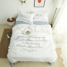 4 Stück 100% Baumwolle 60S Langstapelige Baumwolle Satin Stoff luxus Prinzessin Weiss Farbe bestickte Bettwäsche mit grauen Laken gesetz