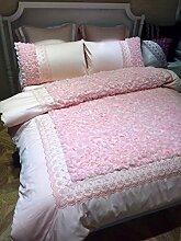 4 Stück 100% Baumwolle chinesischen Hochzeit Betten king size 220*240 cm Bettbezug pink Jade Rosen genäht Stickerei Bettwäsche Prinzessin gesetz