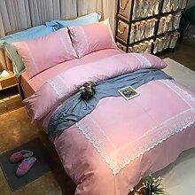 4 Stück 100% Baumwolle Twill weich Stoff Mädchen Pink Princess Bettwäsche weiße Schnürsenkel Bettdecke Queen size Bett Set Full