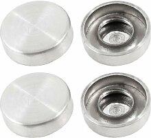 4Stück 18mm Durchmesser Schraubverschluss Tee Tisch Spiegel Nägel silber Ton