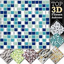 4 Stück 25,3 x 25,3 cm blau türkis silber Fliesenaufkleber Design 2 I 3D Mosaik Fliesenfolie Küche Bad Aufkleber Grandora W5423