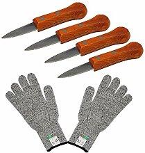 4 Stück Austern-Messer mit Holzgriff,