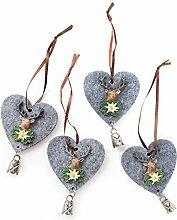 4 Stück bayrisch rustikale graue Filz Herzen Weihnachtsanhänger mit Hirsch-Kopf u. Glöckchen; Größe ohne Schnur: 10 cm.