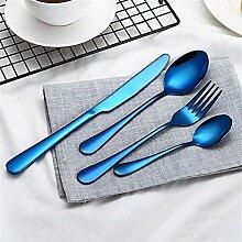 4 Stück Blau Geschirr Set Edelstahl Besteck Set