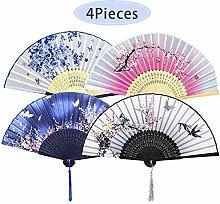 4 Stück Faltbare Fächer Handfächer für Damen,