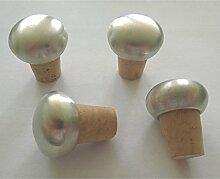 4 Stück Flaschenstöpsel mit Zinnknauf