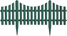 4 Stück Gartenzaun Zierzaun Beeteinfassung Beetabgrenzung Lattenzaun Dekozaun Kunststoffzaun Beetumrandung Zaun 60,5x33cm - Grün