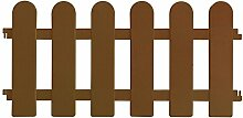 4 Stück Gartenzaun Zierzaun Beeteinfassung Beetabgrenzung Lattenzaun Dekozaun Kunststoffzaun Beetumrandung Zaun 60x28,5cm - Braun