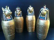 4 Stück, Gold, ägyptischer Gott Canopic Gläser, Dekofigur, Skulptur, Statue, Ancient Egyp