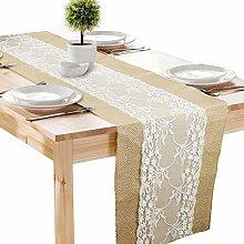 4 Stück Jute Tischläufer Tischband Vintage mit