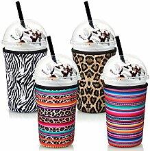 4 Stück Kaffeebecher-Hülle, wiederverwendbare