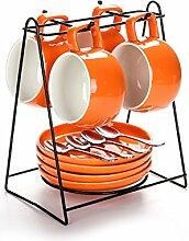 4 Stück Kaffeetassen-Sets, Französisch Keramik