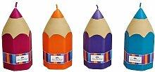 4 Stück Kerzen 58 Std. Brenndauer Stift Dekoration Einschulung Schulanfang Tischdeko