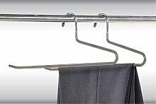 4 Stück Kesper Hosenbügel, Hosenhalter, Hosenklemmer, Kleiderbügel, (2 x 2er Pack), aus Metall, Breite: 330 mm, in grau