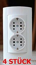 4 STÜCK Kombi-Steckdose/Steckdose auf einem Sockel Komplett NEU Aufputz 2 steckplätze Mehrfachtecker,Mehrfachsteckdose, Multistecker
