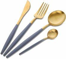 4 Stück Luxus Gold Besteck mit grauem Griff