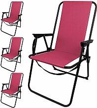 4 Stück Outdoor Klappstuhl faltbar inkl. Tragegurt, in 4 Farben erhältlich, Camping Garten Balkon Strand Faltstuhl Angelstuhl, Farbe:Pink