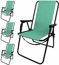 4 Stück Outdoor Klappstuhl faltbar inkl. Tragegurt, in 4 Farben erhältlich, Camping Garten Balkon Strand Faltstuhl Angelstuhl, Farbe:Türkis