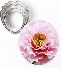 4 Stück Pfingstrosen Blüten Edelstahl DIY 3D Cup