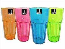 4 stück plastik groß Wasser Cocktail Becher Glas (Pink)