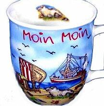 4 Stück- Porzellan- MINI- Tasse, Kaffeepott, Becher- Moin Moin maritim- deutsches Produktdesign