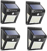 4 Stück Solar-Wandleuchte 30 LED Straßenleuchte